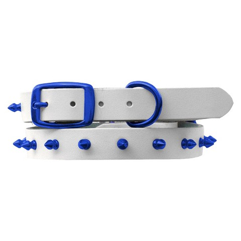 Platinum Pets Genuine Leather Dog Collar with Spikes White