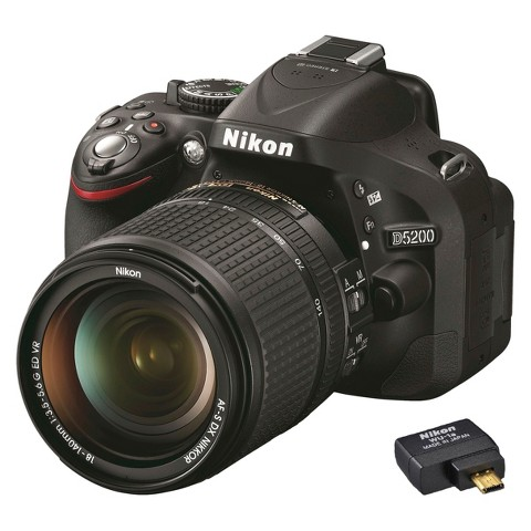 Nikon D5200 24.1MP Digital SLR Camera with 18-140mm VR Lens and WU-1A Wireless Adapter - Black