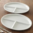 CHEFS Oval Porcelain TV Plates, Set of 2
