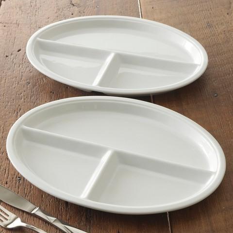 CHEFS Oval Porcelain TV Plates, Set of 2