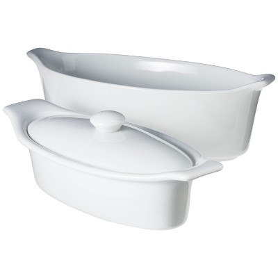 Ecom 3 Pc Butter Dish Chefs White Ceramic
