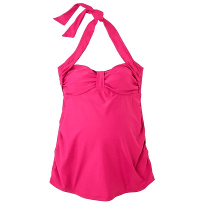 Women's Maternity Cinched Halter Tankini Swim Top - Assorted Colors