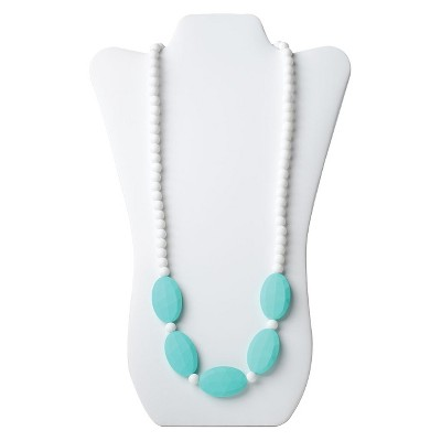 Nixi by Bumkins Sasso Teething Necklace - White/Turquoise