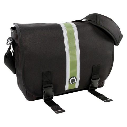 DadGear Messenger Diaper Bag - Center Stripe Green