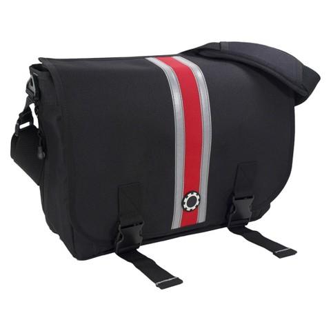 DadGear Messenger Diaper Bag - Center Stripe Red