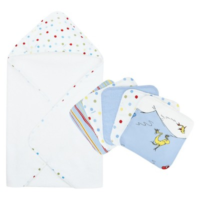 Trend Lab Dr. Seuss 1 Fish 2 Fish 6pc Hooded Towel Baby Bath Set - Blue