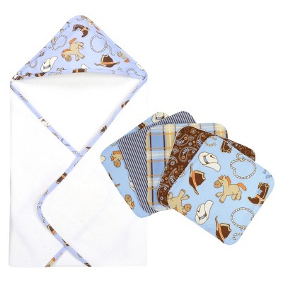 Trend Lab Cowboy 6pc Hooded Towel Baby Bath Set - Blue