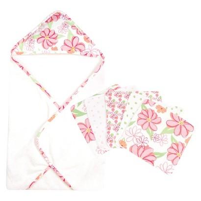 Trend Lab Hula 6pc Hooded Towel Baby Bath Set - Pink