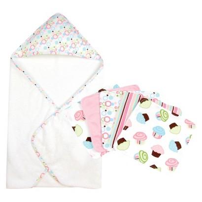 Trend Lab Cupcake 6pc Hooded Towel Baby Bath Set - Pink