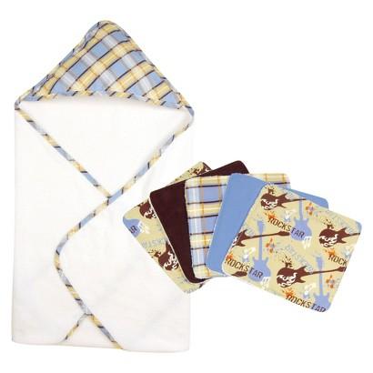Trend Lab Rock Star 6pc Hooded Towel Baby Bath Set - Blue