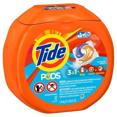 Tide Pods Ocean Mist Laundry Detergent Pacs Scent - 57 Count