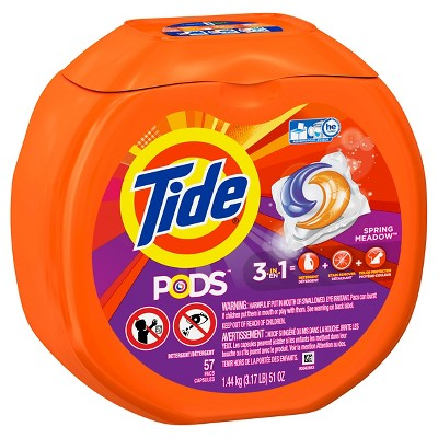 Tide Pods Spring Meadow Scent Laundry Detergent Pacs 57 ct