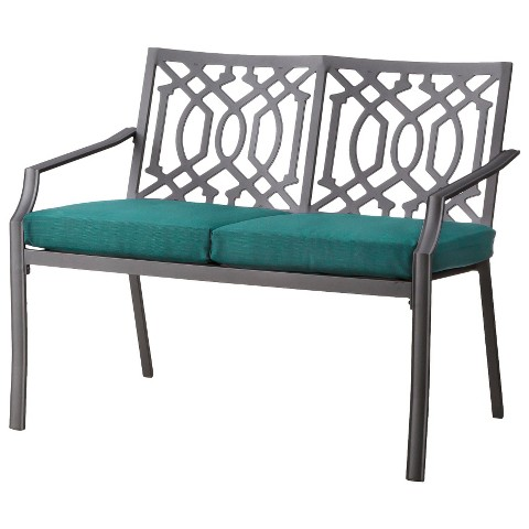 harper metal patio garden bench with cushions target