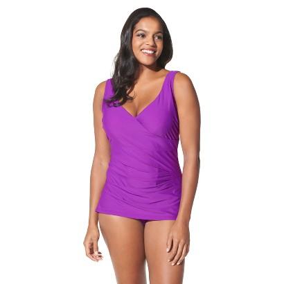 Women's Plus-Size V-Neck One-Piece Swimsuit - Amethyst