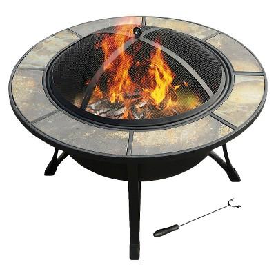 "leisurelife™ 33"" Big Sur, Round Slate Fire Pit"