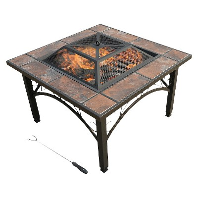 "leisurelife™ 33"" Trevi, Square Ceramic Tile Fire Pit"
