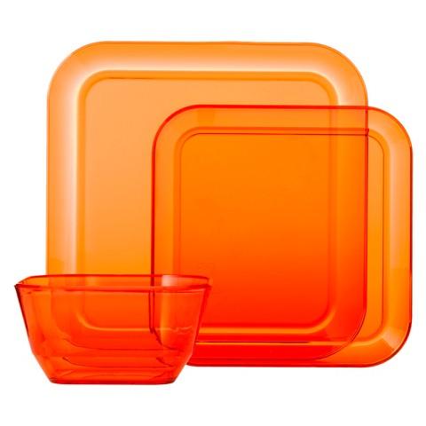Room Essentials™ Square 12 Piece Clear Plastic Dinnerware Set - Orange Smoothie