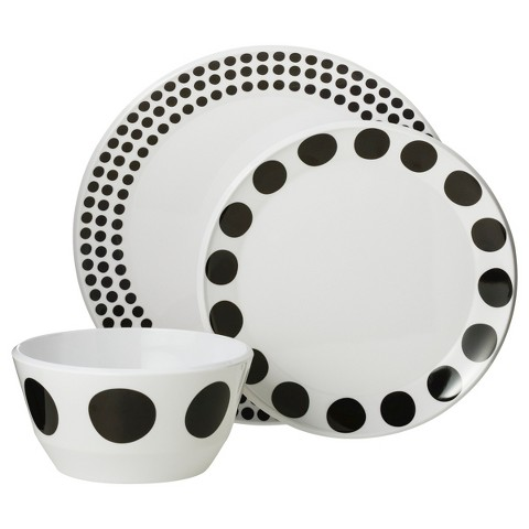 Room Essentials™ Round 12 piece Melamine Dinnerware Set - Black Dots