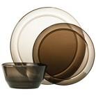 Room Essentials™ Round 12 Piece Clear Plastic Dinnerware Set - Grey