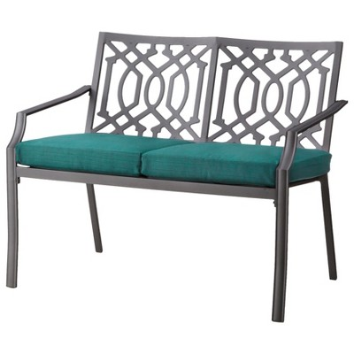 Harper Metal Patio Garden Bench - Turquoise  - Threshold™