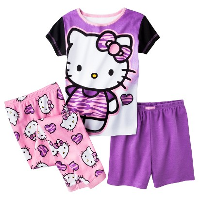 Hello Kitty Girls' 3-Piece Short-Sleeve Pajama Set