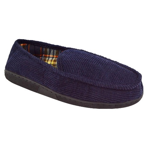 Men's MUK LUKS® Corduroy Moccasin with Flannel Lining - Navy