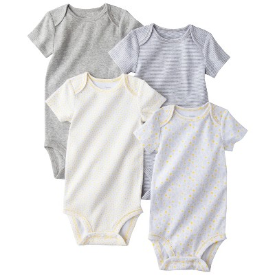 PRECIOUS FIRSTS™Made by Carters® Newborn 4 Pack Bodysuit - Grey/Yellow 6 M