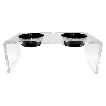 Platinum Pets Five Star Modern Acrylic Feeder with Two Extra Heavy Stainless Steel Bowls