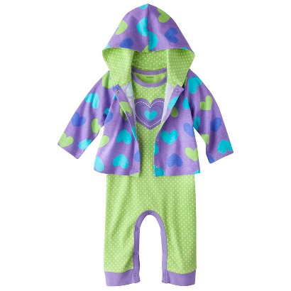 Gerber® Newborn Girls' Hearts Coverall and Jacket - Purple/Green