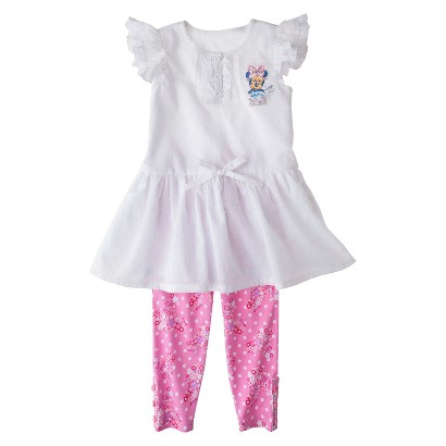 Disney® Minnie Mouse Infant Toddler Girl's Cap Sleeve Tunic and Floral Legging Set