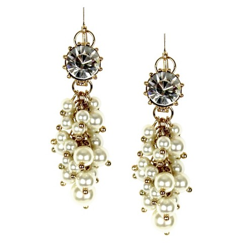 Women's Cluster Earrings - Cream/Gold