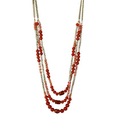 """Women's Long Necklace - Coral/Gold (34"""")"""
