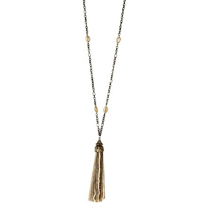 "Women's Long Necklace - Ivory/Gold (36"")"