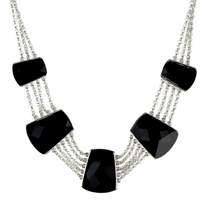 "Women's Statement Necklace - Black/Silver (17.5"")"
