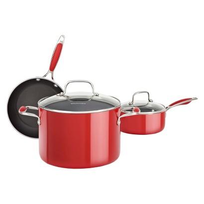 KitchenAid 5 Piece Aluminum Cookware Set - Red