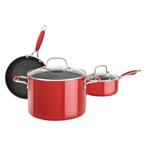 KitchenAid® 5 Piece Aluminum Cookware Set - Red