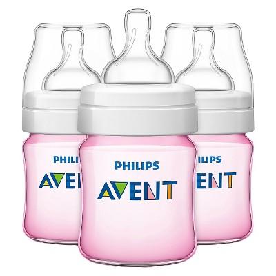 Philips Avent Classic+ Bottle, Pink - 4oz (3pk)