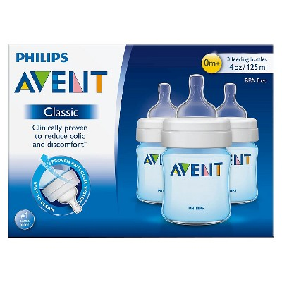 Philips Avent Classic+ Bottle, Blue - 4oz (3pk)