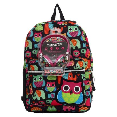 Starpoint Backpack With Headphones Owls & Animals