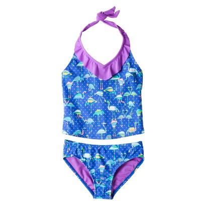 Girls' 2-Piece Halter Flamingo Tankini Swimsuit Set