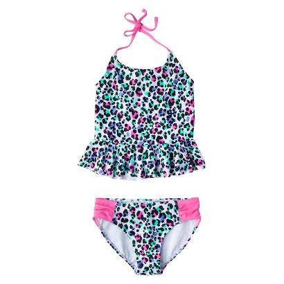 Girls' 2-Piece Peplum Leopard Spot Tankini Swimsuit Set