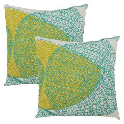 Threshold™ 2-Piece Square Outdoor Toss Pillow Set - Turq Leaf