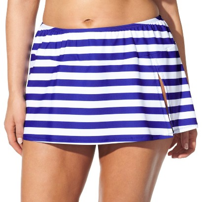 Women's Plus-Size Skirted Hipster Swim Bottom - Cobalt Blue/White