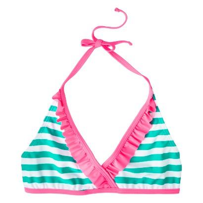 Girls' Striped Halter Bikini Swim Top