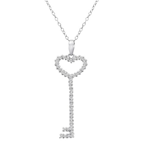 0.8 CT. T.W. Cubic Zirconia Key Pendant Sterling Silver Necklace - Silver/Clear