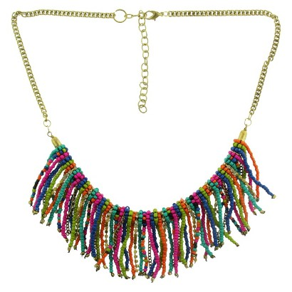 "Women's 18"" Chain with Seed Beads and Rhinestone Chain Bib Necklace - Gold/Multicolor"