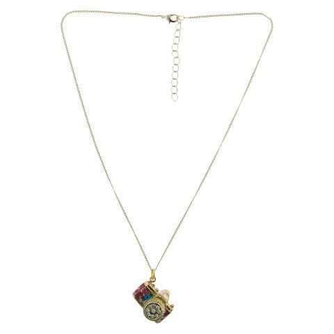 Women's Long Chain Necklace with Floral Printed Camera Pendant - Gold/Red/Blue
