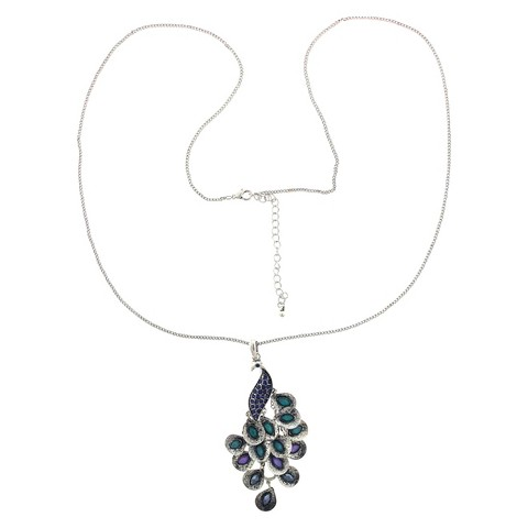 Women's Long Chain Necklace with Peacock Pendant - Silver/Multicolor