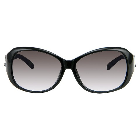 Women's Rectangle Sunglasses with Rhinestone Detail - Black