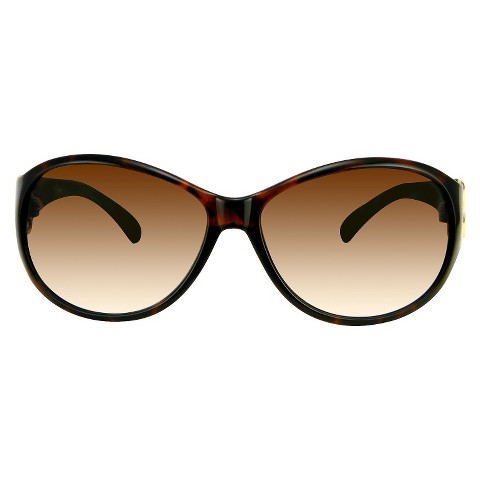 Women's Round Sunglasses with Small Rhinestone Detail - Tortoise